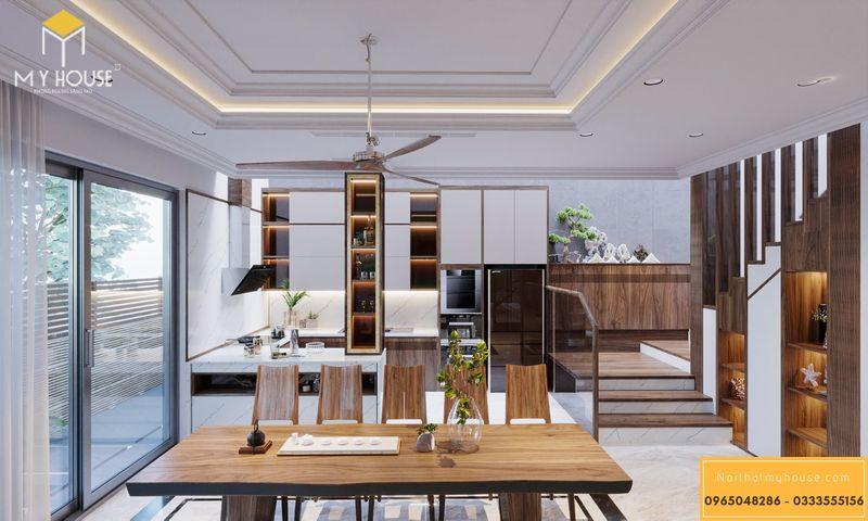 Thiết kế nội thất biệt thự Ngoại Giao Đoàn - Phòng bếp tiện nghi