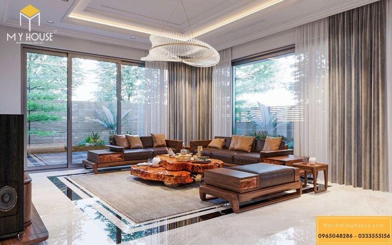 Thiết kế nội thất biệt thự Ngoại Giao Đoàn - Phòng khách gỗ tự nhiên óc chó