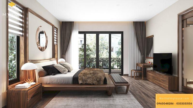 Thiết kế nội thất phòng ngủ master hiện đại gỗ óc chó