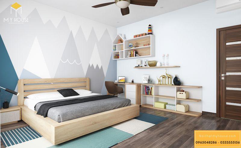 Thiết kế nội thất biệt thự liền kề Grandeur Palace - Phòng ngủ gỗ sồi