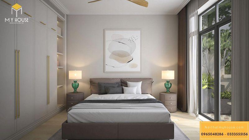 Thiết kế nội thất biệt thự song lập Vinhomes harmony - phòng ngủ hiện đại