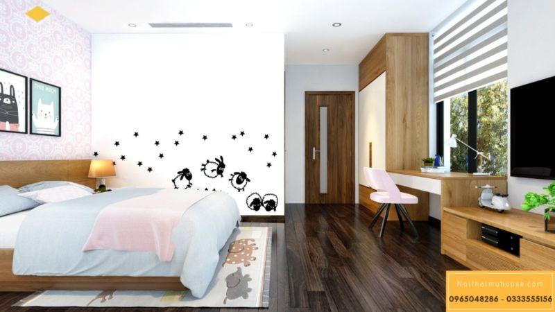 Thiết kế nội thất biệt thự song lập Vinhomes Green Bay - phòng ngủ gỗ sồi