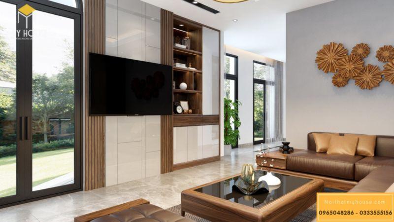 Thiết kế nội thất biệt thự song lập Vinhomes Green Bay - gỗ tự nhiên óc chó