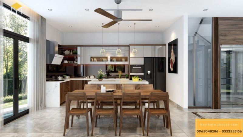 Thiết kế nội thất biệt thự song lập Vinhomes Green Bay - bàn ăn 8 ghế gỗ óc chó