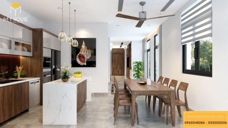 Thiết kế nội thất biệt thự song lập Vinhomes Green Bay - tủ bếp chữ L kết hợp đảo bếp