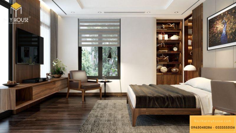 Thiết kế nội thất biệt thự song lập Vinhomes Green Bay - phòng ngủ master gỗ óc chó