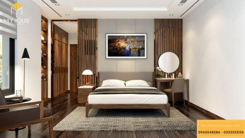 Thiết kế nội thất biệt thự song lập Vinhomes Green Bay - phòng ngủ gỗ óc chó