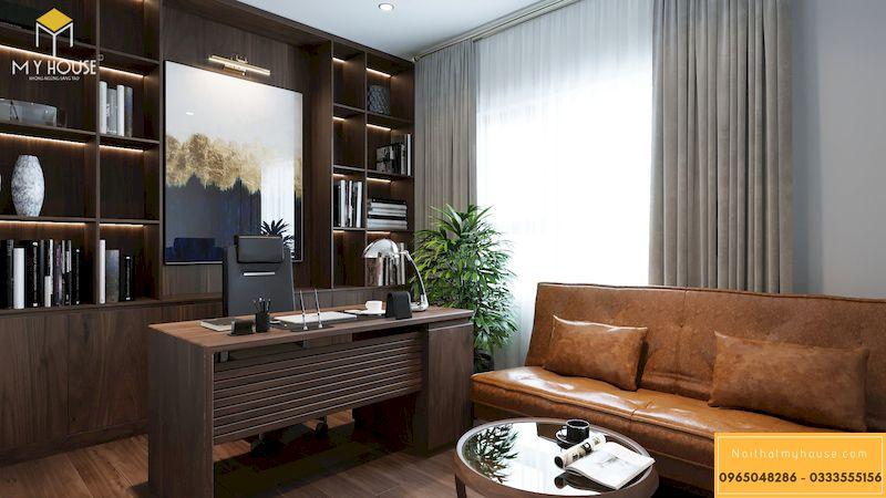 Thiết kế nội thất chung cư Grandeur Palace, Giảng Võ - Bộ sofa văng chất liệu da bò Ý