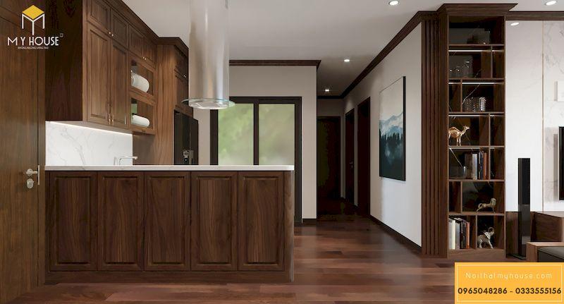 Thiết kế phòng bếp màu óc chó