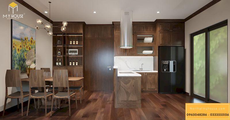 Thiết kế nội thất chung cư Grandeur Palace - tủ bếp chữ L