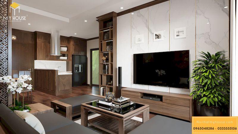 Thiết kế nội thất chung cư Grandeur Palace - phòng khách liên thông phòng bếp
