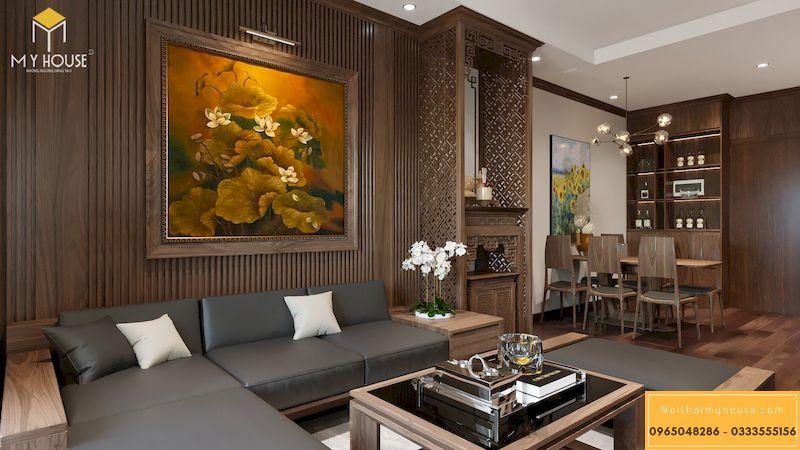 Thiết kế nội thất chung cư Grandeur Palace - phòng khách gỗ óc chó
