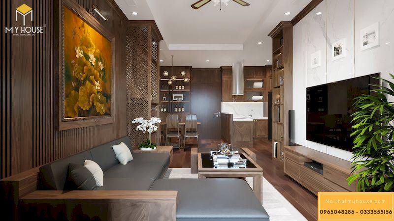 Phòng khách chung cư gỗ óc chó sang trọng và đẳng cấp Grandeur Palace
