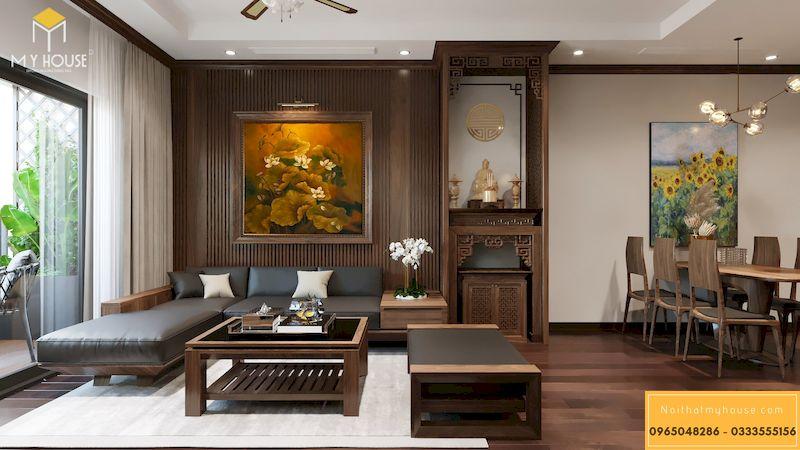 Phòng thờ trong phòng khách chung cư thiết kế nhỏ gọn nhưng trang nghiêm