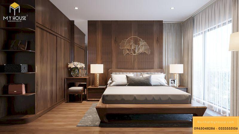 Thiết kế nội thất phòng ngủ gỗ óc chó Grandeur Palace, Giảng Võ