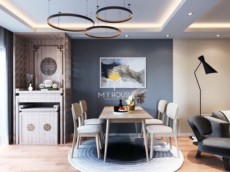 Thiết kế nội thất chung cư K35 Tân Mai 3 - Thiết kế phòng khách kết hợp ban thờ chung cư