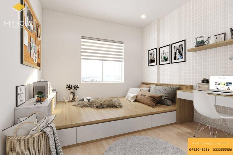 Thiết kế nội thất chung cư Sunshine Garden - Phòng ngủ người lớn với đầy đủ nội thất gỗ công nghiệp vân gỗ