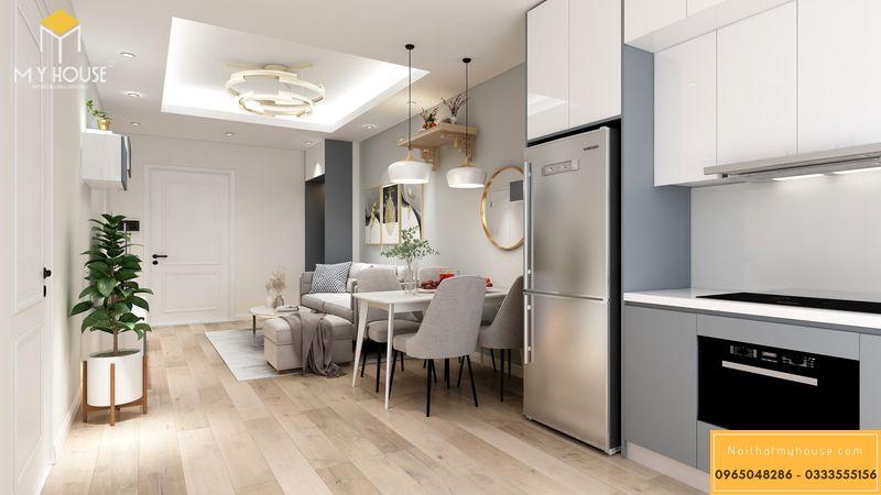 Thiết kế nội thất chung cư Sunshine Garden - phòng khách bếp liên thông