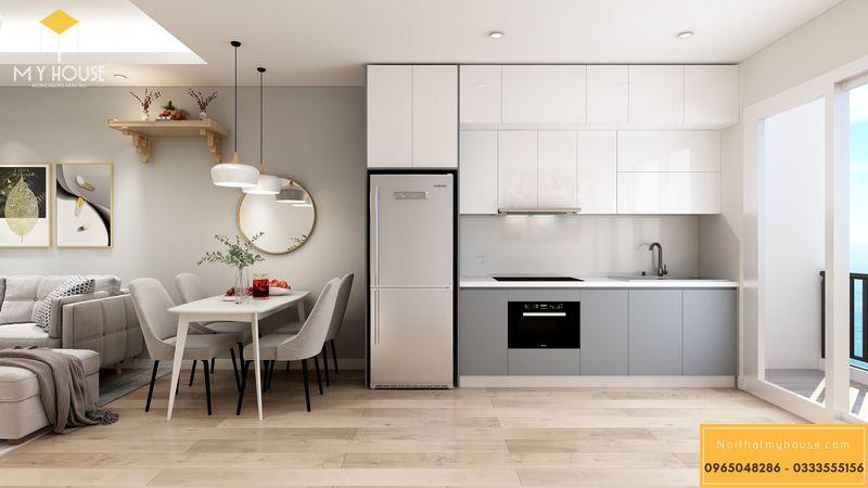Thiết kế nội thất chung cư Sunshine Garden với tủ bếp chữ I gỗ công nghiệp chống ẩm phủ laminate
