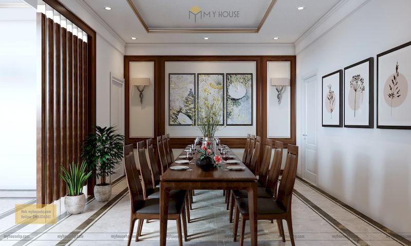 Thiết kế nội thất phân khu Hải Âu tại Vinhome Ocean Park - Bộ bàn ăn gỗ óc chó 10 ghế cao cấp