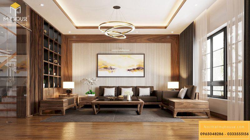 Mẫu thiết kế nội thất phân khu Ngọc Trai tại Vinhome Ocean Park - Phòng khách gỗ óc chó tầng 2