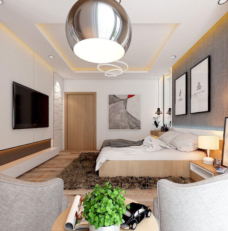 Thiết kế nội thất phân khu Sao Biển tại Vinhome Ocean Park - Phòng ngủ gỗ sồi
