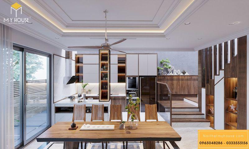 Thiết kế nội thất phân khu Sao Biển tại Vinhome Ocean Park - Bộ bàn óc chó 10 ghế