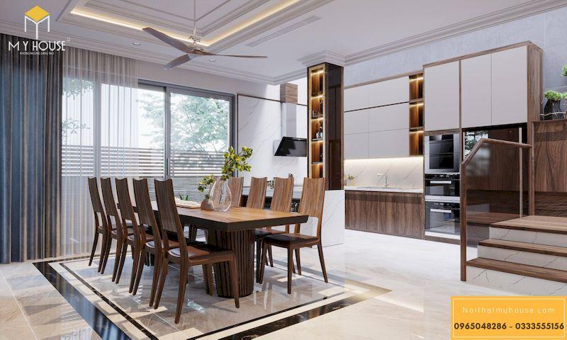 Thiết kế nội thất phân khu Sao Biển tại Vinhome Ocean Park - Tủ bếp chữ U gỗ công nghiệp