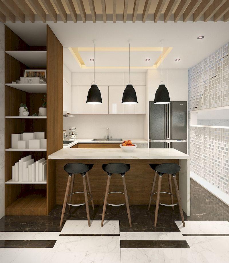 Thiết kế nội thất phân khu Sao Biển tại Vinhome Ocean Park - Tue bếp kết hợp bàn đảo tiện nghi sử dụng