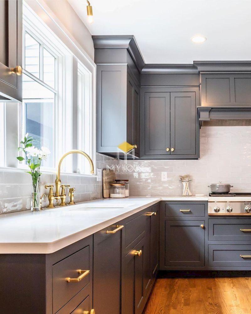 Tủ bếp tân cổ điển chữ L gỗ công nghiệp - 25