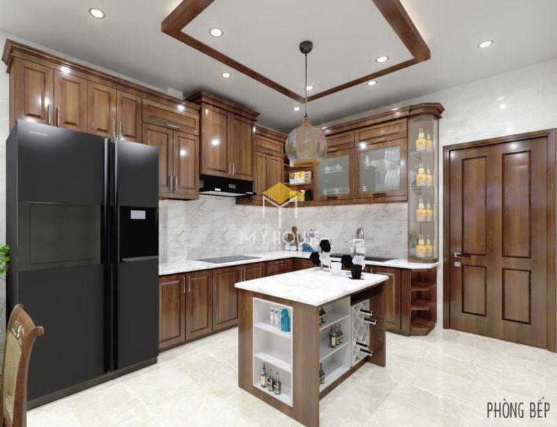 Mẫu tủ bếp tân cổ điển chữ L - 03