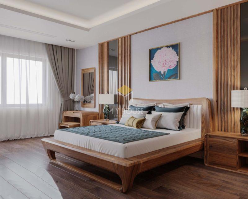 Vách gỗ trang trí đầu giường óc chó