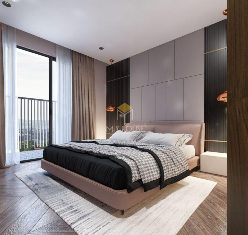 trang trí vách ốp đầu giường gỗ công nghiệp
