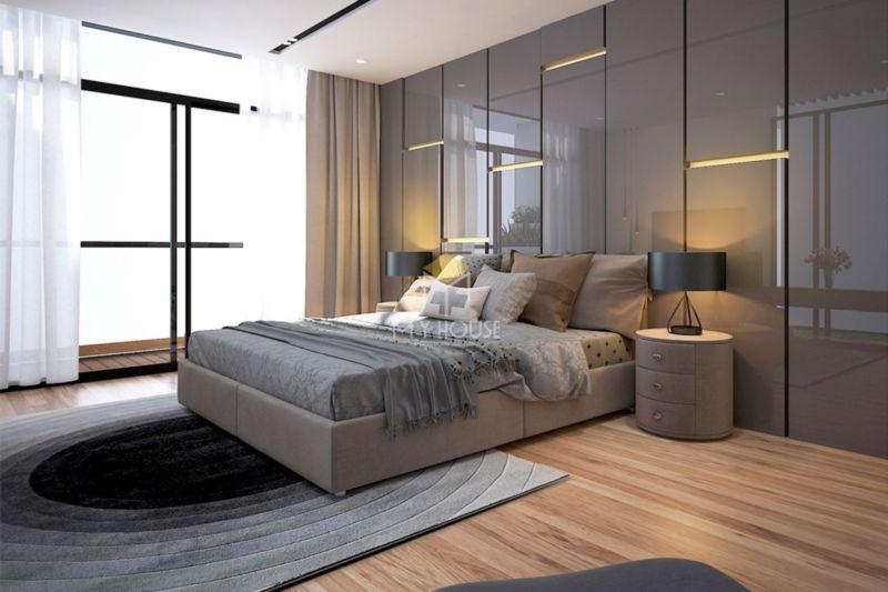 vách đầu giường bằng gỗ công nghiệp phủ acrylic bóng gương