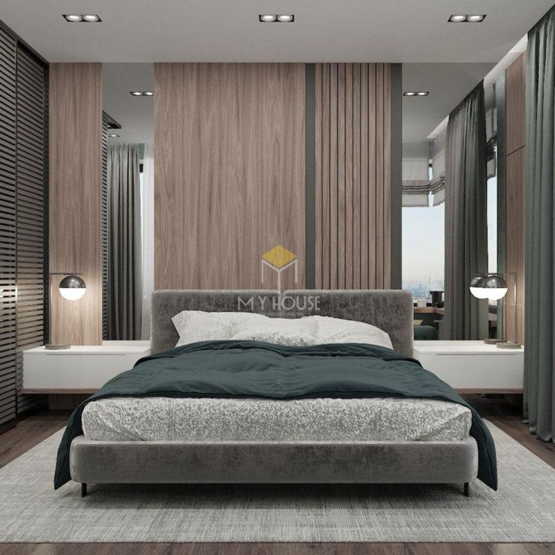 Vách gỗ trang trí đầu giường