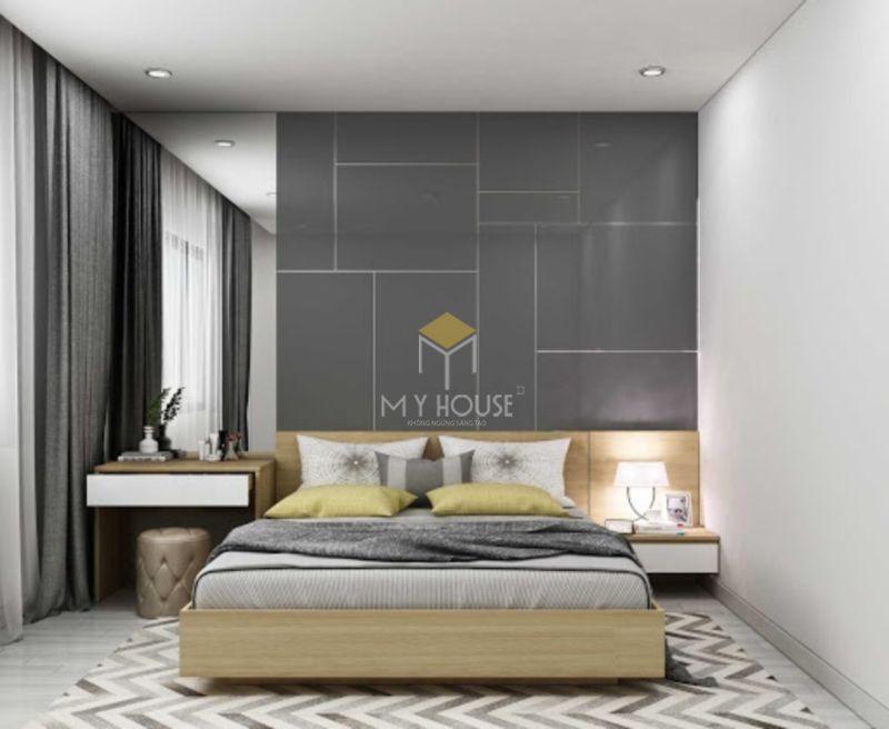 Vách gỗ trang trí đầu giường công nghiệp