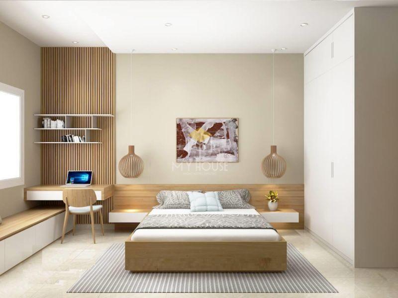 Mẫu vách đầu giường bằng gỗ công nghiệp