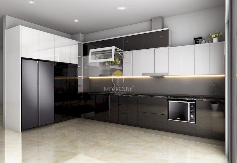 Tủ bếp acrylic chữ L - Mẫu 17
