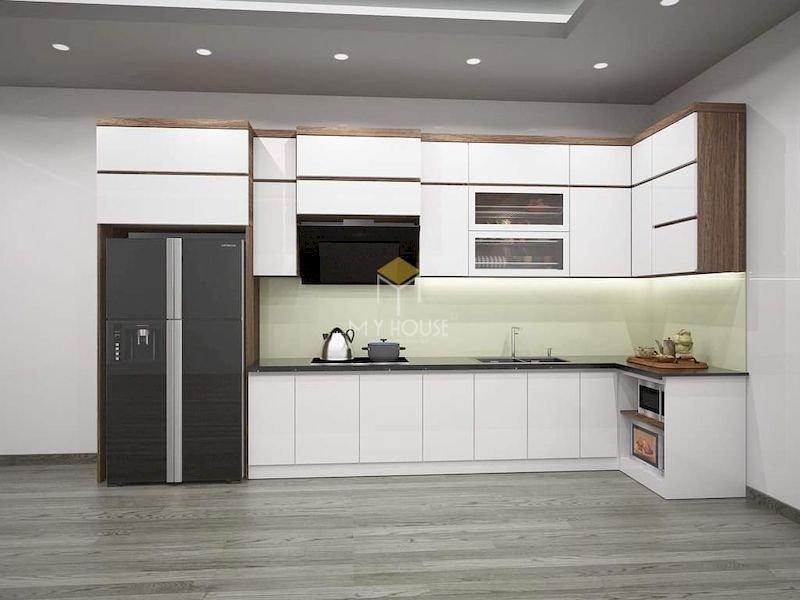 Tủ bếp acrylic chữ L - Mẫu 18