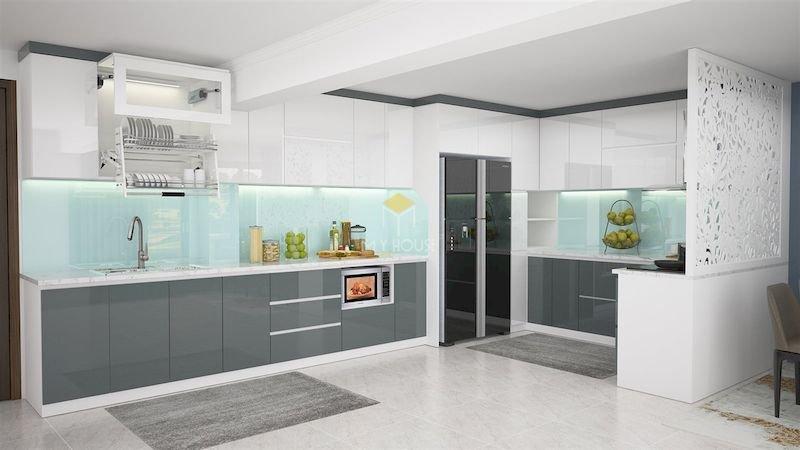 Tủ bếp acrylic chữ L - Mẫu 19