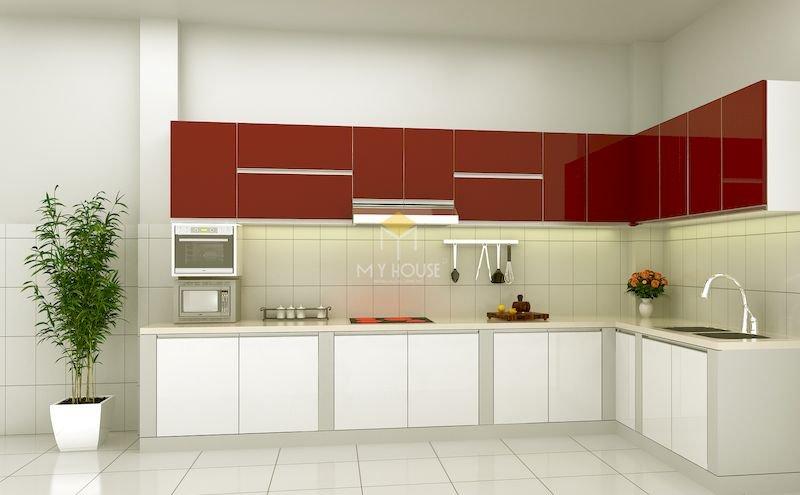 Tủ bếp acrylic chữ L - Mẫu 20
