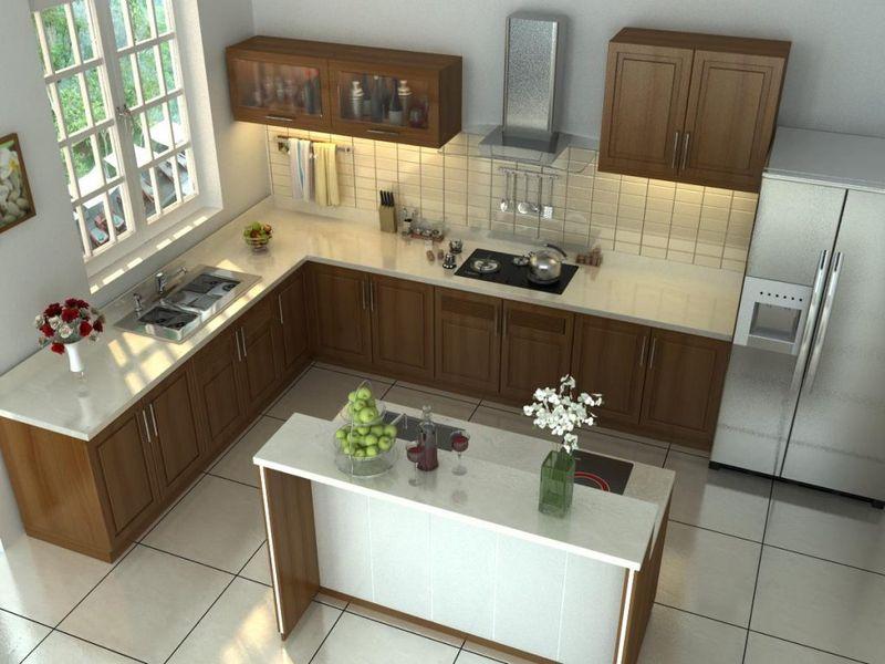 Phòng bếp gỗ tự nhiên óc chó có cửa sổ