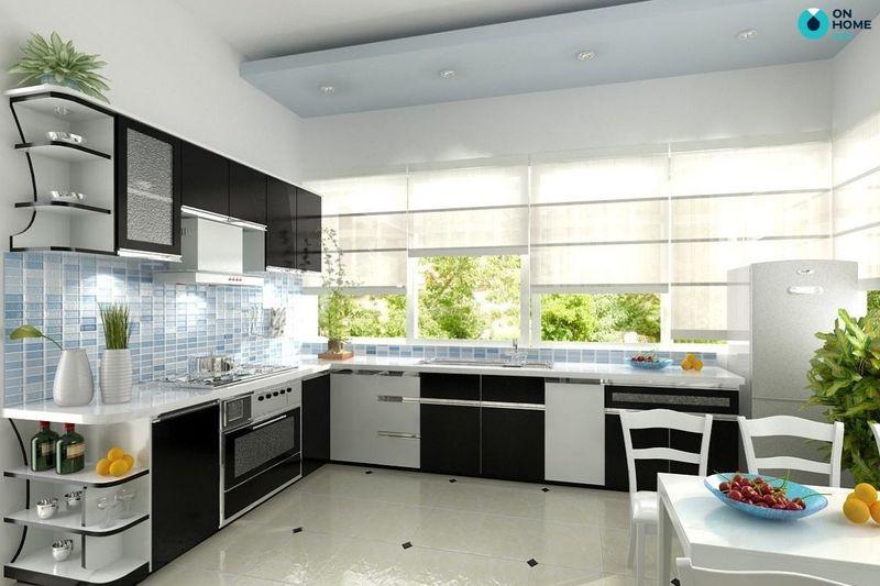 Mẫu phòng bếp có cửa sổ - Thiết kế tủ bếp chữ L gỗ công nghiệp