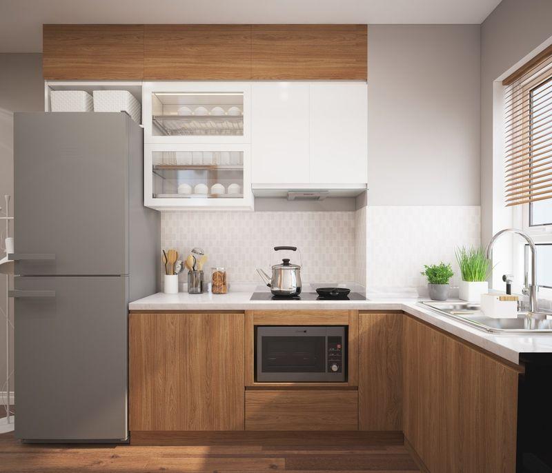 Mẫu phòng bếp có cửa sổ gỗ công nghiệp