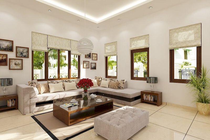 Thiết kế nội thất nhà 1 tầng 3 phòng ngủ 100m2 - phòng khách 1