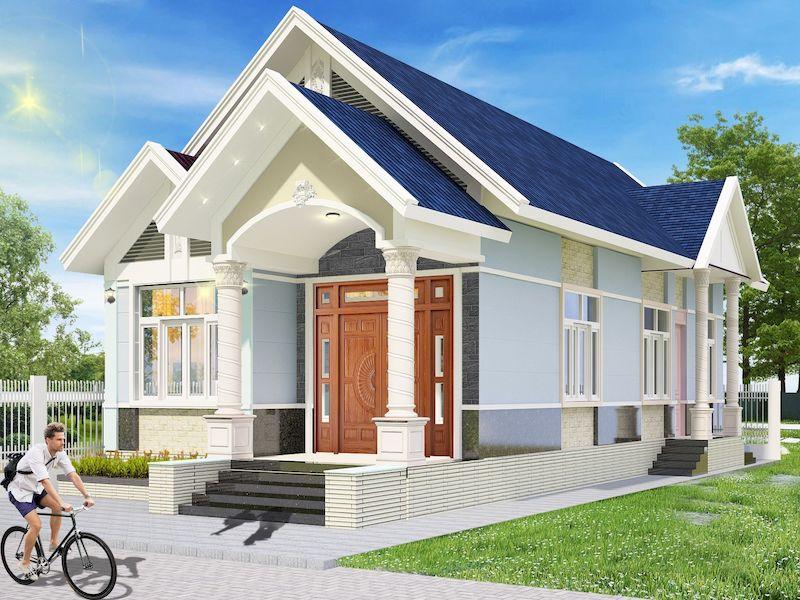 Thiết kế kiến trúc nhà 1 tầng 3 phòng ngủ 100m2