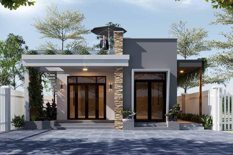 Thiết kế nhà 1 tầng 3 phòng ngủ 100m2 mái bằng