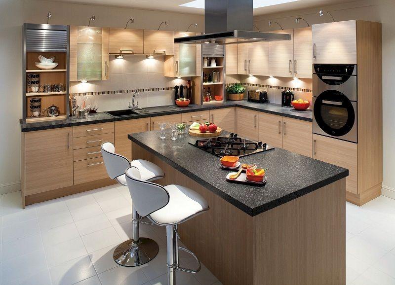 Thiết kế tủ bếp chữ L cùng bàn đảo bếp cho gia đình
