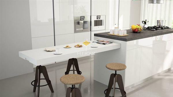 Nội thất nhà bếp thông minh: đảo bếp kết hợp bàn ăn