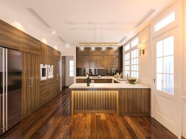 Mẫu nội thất phòng bếp gỗ tự nhiên chữ U